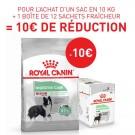 Offre Royal Canin: 1 sac Canine Care Nutrition Medium Digestive Care 10 kg + 12 sachets Digestive Care mousse achetés = 10€ de remise immédiate