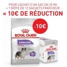 Offre Royal Canin: 1 sac Canine Care Nutrition Medium Sterilised 10 kg + 12 sachets Sterilised mousse achetés = 10€ de remise immédiate