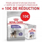 Offre Royal Canin: 1 sac Canine Care Nutrition Mini Sterilised 8 kg + 12 sachets Sterilised mousse achetés = 10€ de remise immédiate
