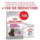 Offre Royal Canin: 1 sac Canine Care Nutrition Medium Relax Care 10 kg + 12 sachets Relax Care mousse achetés = 10€ de remise immédiate