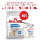 Offre Royal Canin: 1 sac Canine Care Nutrition Mini Light Weight Care 8 kg + 12 sachets Light Weight Care mousse achetés = 10€ de remise immédiate