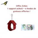 Offre Zolux : 1 Support pour boule de graisse Cabane rouge acheté = 6 boules de graisses offertes