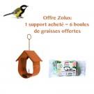 Offre Zolux : 1 Support pour boule de graisse Cabane orange acheté = 6 boules de graisses offertes