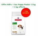 Offre Hill's: Hill's Science Plan Puppy Medium Healthy Development au poulet 12 kg + 3 kg offerts