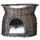 Trixie Panier osier gris avec lit au dessus pour chat - Dogteur